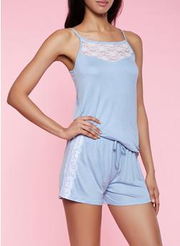 Soft Knit Lace Detail Pajama Cami and Shorts Set - 3152052311010