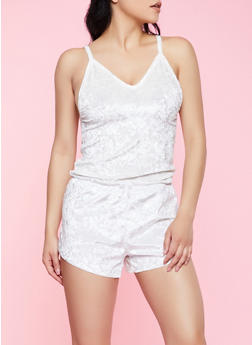 Velvet Pajama Tank Top and Shorts Set - 3152068061299