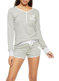 Graphic Pajama Top and Shorts Set - GRAY - 3152069000003