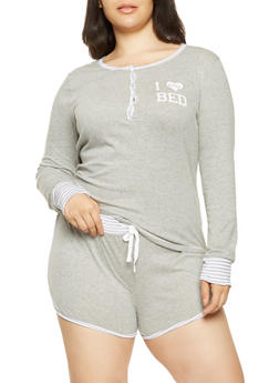 Plus Size Graphic Pajama Top and Shorts - GRAY - 3152069000004