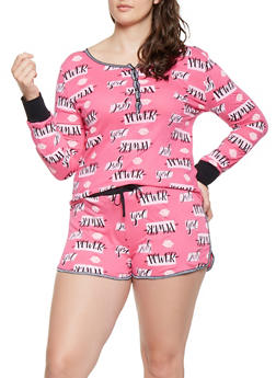 Plus Size Graphic Pajama Top and Shorts - BLACK - 3152069000015