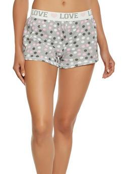 Polka Dot Print Pajama Shorts - GRAY - 3152069002229