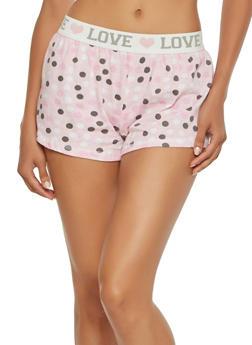 Polka Dot Print Pajama Shorts - PINK - 3152069002229