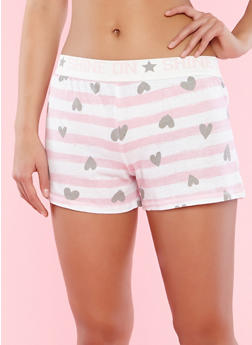 Striped Heart Print Pajama Shorts - 3152069002233