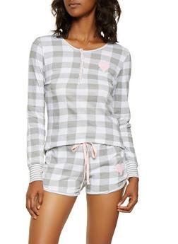 Checkered Half Button Pajama Top and Shorts - GRAY - 3152069006008