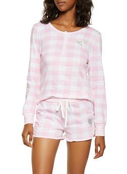 Checkered Half Button Pajama Top and Shorts - PINK - 3152069006008