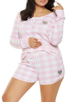 Plus Size Checkered Top and Shorts Pajama Set - 3152069006009