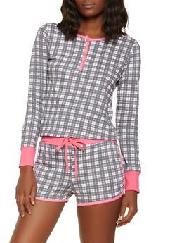 Plaid Pajama Top and Shorts - GRAY - 3152069006010
