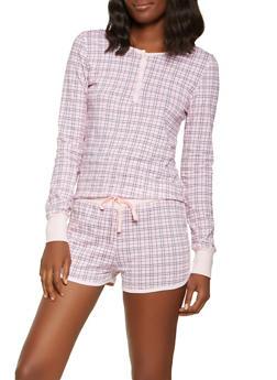 Plaid Pajama Top and Shorts - PINK - 3152069006010