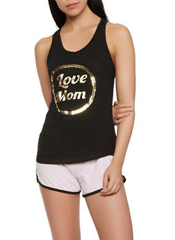 Sequin Graphic Tank Top and Pajama Shorts - 3152069006028