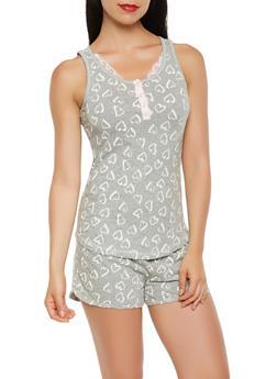 Heart Print Pajama Set - HEATHER - 3152069006107