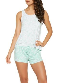 Floral Tank Top and Shorts Pajama Set - MINT - 3152069006179