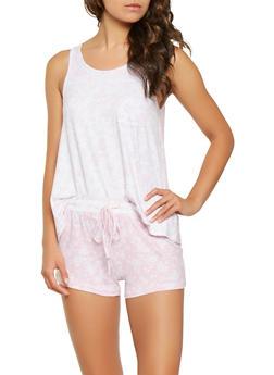 Floral Tank Top and Shorts Pajama Set - PINK - 3152069006179