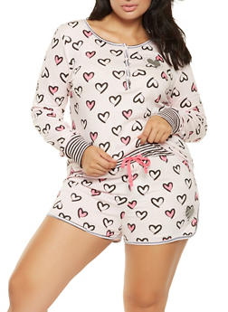 Plus Size Heart Print Pajama Top and Shorts Set - PINK - 3152069006465