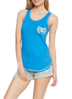 Graphic Tank Top and Shorts Pajama Set - NAVY - 3152069006820