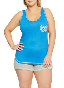 Plus Size Graphic Pajama Tank Top and Shorts - 3152069006823