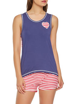 Heart Patch Tank Top with Shorts Pajama Set - 3152069006840