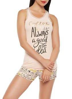 Coffee Graphic Pajama Tank Top and Shorts Set - PINK - 3152069006847