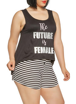 Plus Size Pajama Tank Top and Striped Shorts - BLACK - 3152069006928