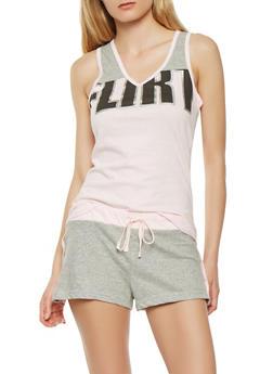 Graphic Pajama Set - PINK - 3152069006958
