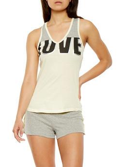 Graphic Tank Top and Shorts Pajama Set - YELLOW - 3152069006959