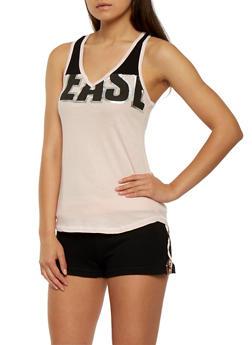 Graphic Tank Top and Shorts Pajama Set - BLUSH - 3152069006959