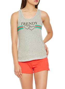 Graphic Tank Top with Side Snap Shorts Pajama Set - 3152069006960