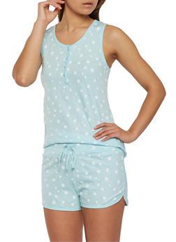 Star Print Foil Graphic Pajama Set - BLUE - 3152069006979