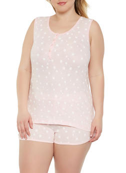 Plus Size Star Print Tank Top and Pajama Shorts - PINK - 3152069006980