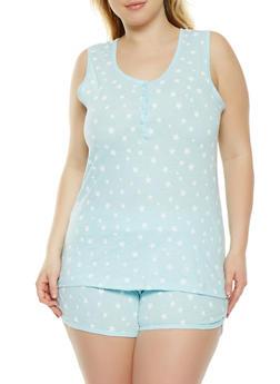 Plus Size Star Print Tank Top and Pajama Shorts - BLUE - 3152069006980