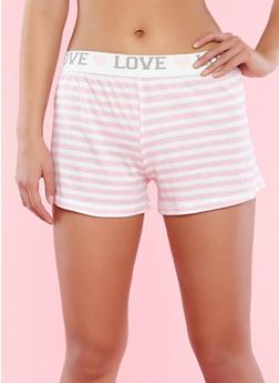 Graphic Waistband Striped Pajama Shorts - 3152069008223