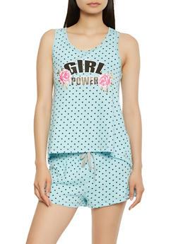 Polka Dot Graphic Pajama Tank Top and Shorts Set - 3152069008870