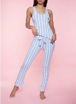 Vertical Stripe Pajama Tank Top and Pants Set - 3154035162356