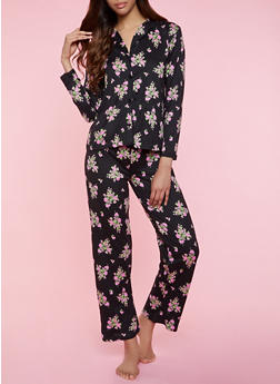 Floral Polka Dot Pajama Shirt and Pants - 3154052311501