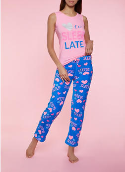 Love to Sleep Late Pajama Tank Top and Pants - 3154052311708