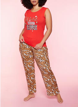 Plus Size Wild About Sleepovers Pajama Tank Top and Pants - 3154052311710