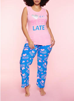 Plus Size Love To Sleep Late Pajama Tank Top and Pants - 3154052311715