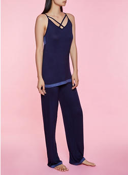 Contrast Trim Pajama Tank Top and Pants - 3154052312020