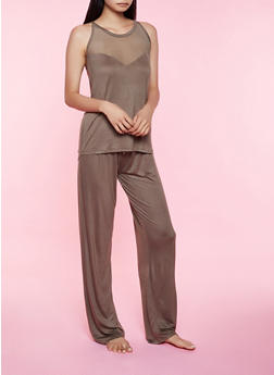 Mesh Yoke Pajama Tank Top and Pants - 3154052314040