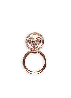 Rhinestone Heart Phone Ring Stand - 3163066413805