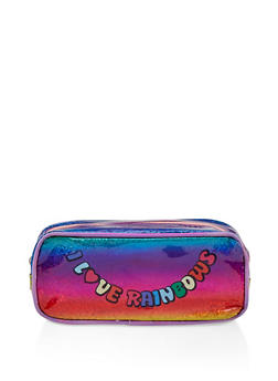 I Love Rainbows Glitter Cosmetic Pouch - 3163066417676