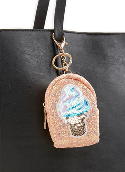 Glitter Ice Cream Backpack Keychain - 3163067441027