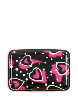 Heart Print Card Wallet - 3163067441058