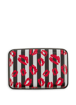 Striped Lip Graphic Card Wallet - 3163067441082