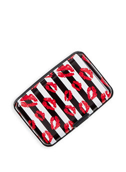 Striped Lip Print Card Wallet - 3163067445544