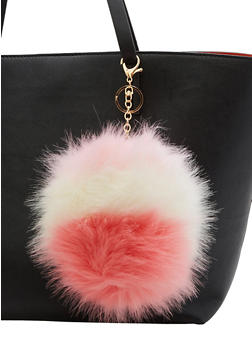 Faux Fur Multi Colored Extra Large Pom Pom Keychain - 3163067447033