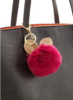 Glitter Ear Pom Pom Keychain - 3163067447046