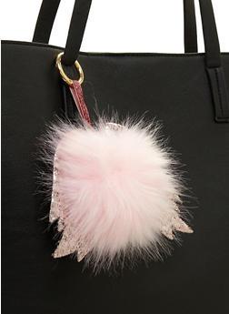 Glitter Wings Pom Pom Keychain - 3163067448003