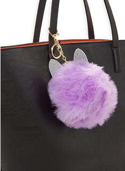 Glitter Ear Pom Pom Coin Purse Keychain - 3163067448008