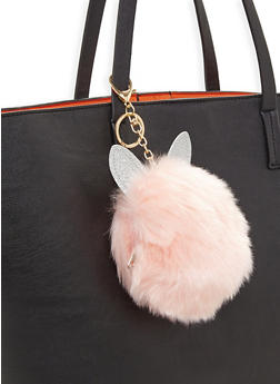 Glitter Ear Pom Pom Coin Purse Keychain - 3163067448008